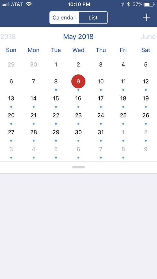 Medication Assisted Treatment App Screenshot Medication Calendar