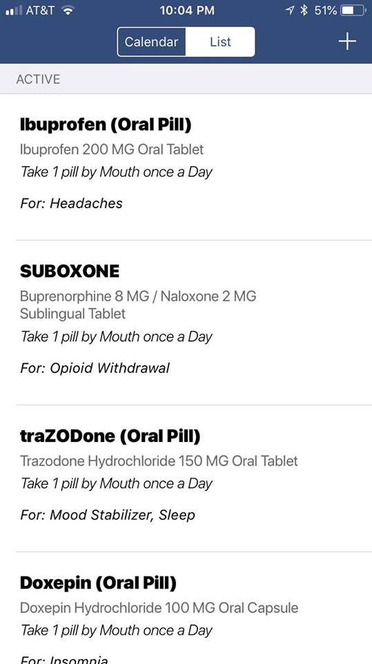 Medication Assisted Treatment App Screenshot Medication History